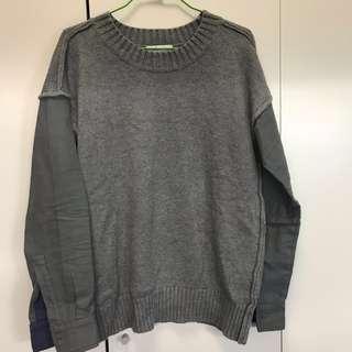 🚚 近全新灰色半針織襯衫毛衣 日本品牌global work