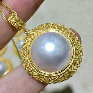 Recommend to Collector!! Filigree /handmade/workmen waiting period: 3 months, this is traditional Empire Yanjing Eight Palace Handicrafts-Yanjing Bajue! 18K solid gold!Natural Pearl size 15-16mm, Pendant size around 24-25mm!