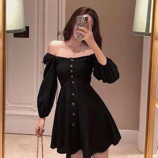 🚚 [PO] Off Shoulder Puff Sleeved Dress