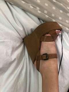 Tony Bianco tan suede and leather wedges - size 7 1/2 (38)