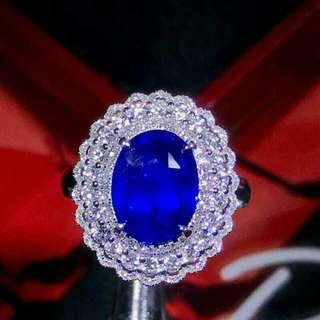 Dual Design 3.62ct Natural Sapphire Ring and Pendant, No Heat! Setting material: 18K white gold and natural  diamond