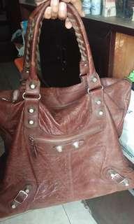 Balenciaga brown leather weekender