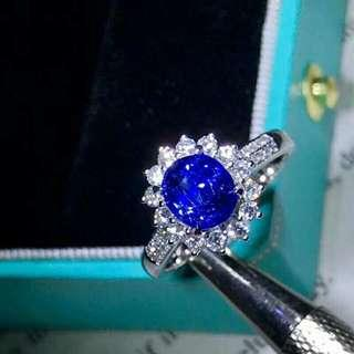 2.1ct Natural Sapphire Ring, No Heat! Setting material: 18K white gold and diamond