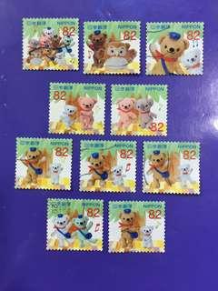 Full set of 10 pcs of Japan Nippon Used Stamp Set