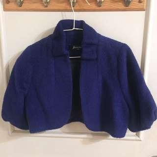 羊毛短版立領小外套 罩衫 _ 寶藍