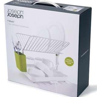Joseph Joseph 85083 Y-rack Dish Rack and Drainboard Set with Cutlery Organizer White