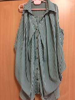 stripe sleeve blouse with gathers