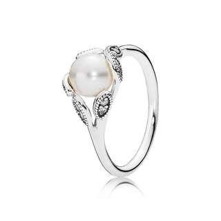 Authentic Pandora Luminous Leaves Ring, White Pearl & Clear CZ