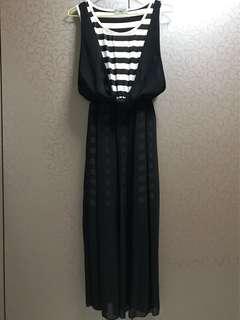 Long stripe black Dress