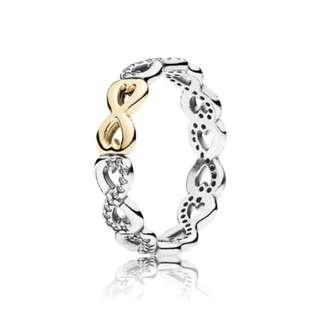 Authentic Pandora Infinite Love Stackable Ring Clear Cz