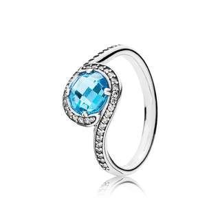 Authentic Sky Blue Radiant Embellishment PANDORA Silver Ring