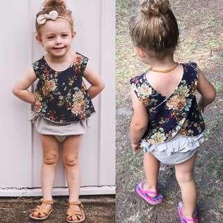 🚚 Baby Girl Floral Print Sleeveless Top + Runched Shorts + Headband 3pc Set