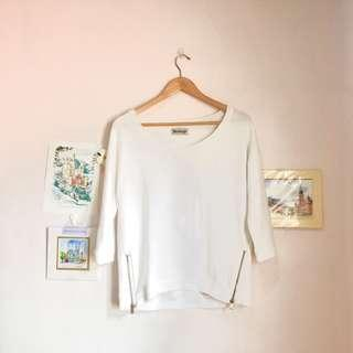 Stradivarius Cotton Sweater with Golden Side Zippers