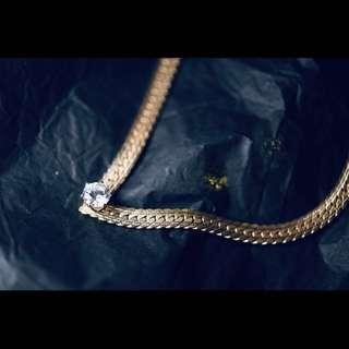 古董晚裝/派對金色頸鍊配水晶