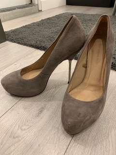 zara beige suede heels