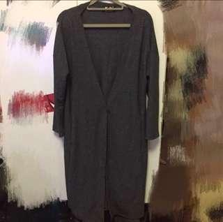 🧥長版深灰棉質外套