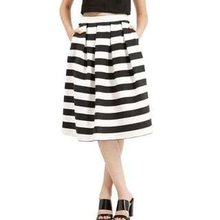 Topshop Stripe Midi Skirt