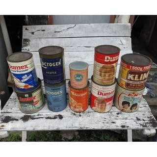 Vintage Baby and Milk Cans