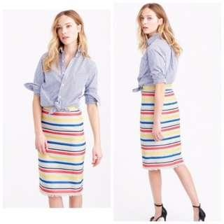 J Crew Colourful Jacquard Striped Skirt