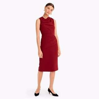 J Crew Burgundy Red Crepe Drape Dress (Petite)