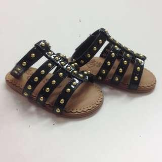 lucky sole black baby shoes 黑色 bb 涼鞋