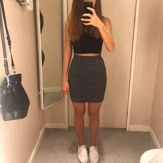 Grey/black striped bandage skirt