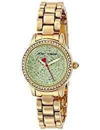 Betsey Johnson Tiny Time Gold Green Rhinestones Bling Bj00272-07 Watch