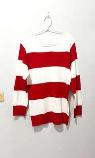 Red White Stripes Woman Sweater