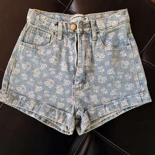 American Apparel Floral Printed Light Blue Denim Shorts