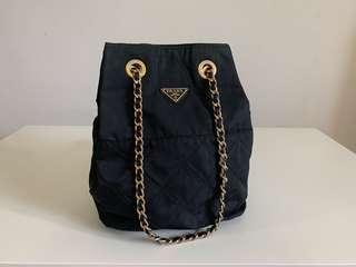 Authentic Prada Quilted Nylon Chain Hand/Shoulder Bag