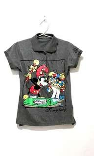 Disney Mickey Mouse Grey Top (Atasan Cewek Abu)