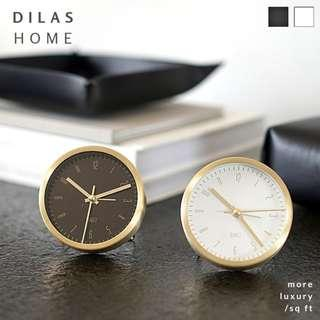 DILAS HOME | 9cm Enke Metallic Round Table Clock with Alarm