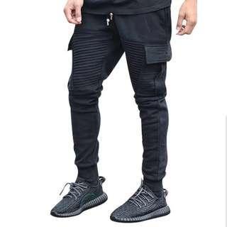 🇺🇸歐美Streetwear修身拼接束腳牛仔褲