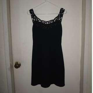 Women's XS Black Dress with Detailed Straps