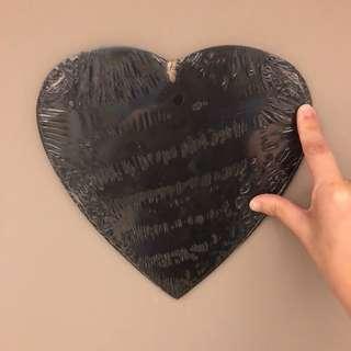 Typo Wooden Heart Shape Chalkboard