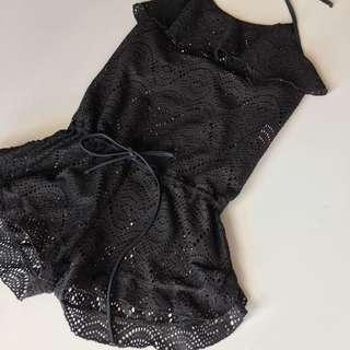 Lace mesh playsuit