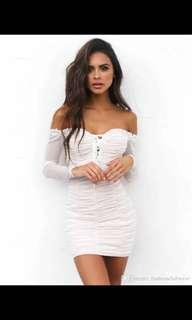 Pretty little thing ruched white dress