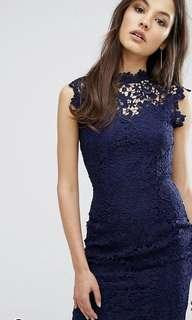 Paper Dolls High Neck Lace Midi Dress in Navy