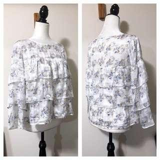 Club Monaco S Tiered Iridescent Floral Blouse