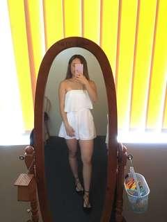 White strapless playsuit