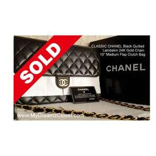 "SOLD - CLASSIC CHANEL Black Quilted Lambskin 24K Gold Chain 10"" Medium Flap Clutch Bag"