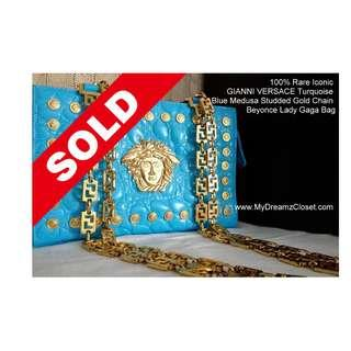 SOLD - 100% Rare Iconic GIANNI VERSACE Turquoise Blue Medusa Studded Gold Chain Beyonce Lady Gaga Bag