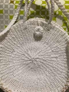Abaca bag with handle, long strap and lock