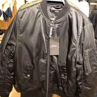 BERSHKA ORIGINAL (BARU) black bomber jacket