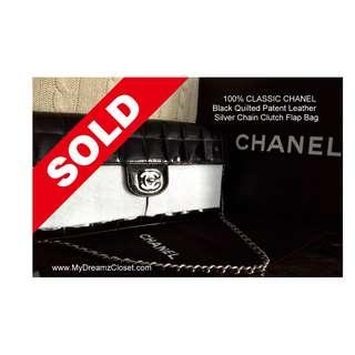 SOLD - MINT 100% CLASSIC CHANEL Black Quilted Patent Leather Silver Chain Clutch Flap Bag