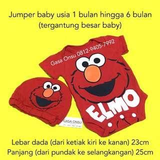 Jumper Baby Merah Gambar Elmo Gratis Topi