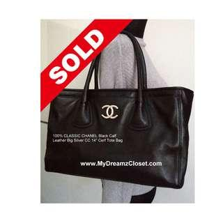 "SOLD - 100% CLASSIC CHANEL Black Calf Leather Big Silver CC 14"" Cerf Tote Bag"