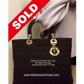 "SOLD - 100% Classic CD Christian Dior Lady Dior Black Cannage Quilted Gold Charm 10"" Bag"