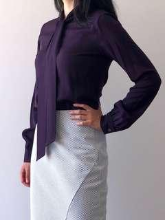 Theory Plum Silk Long-sleeve Shirt