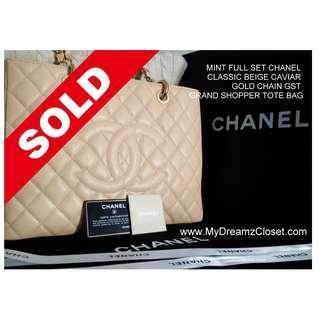 SOLD - MINT FULL SET CHANEL CLASSIC BEIGE CAVIAR GOLD CHAIN GST GRAND SHOPPER TOTE BAG